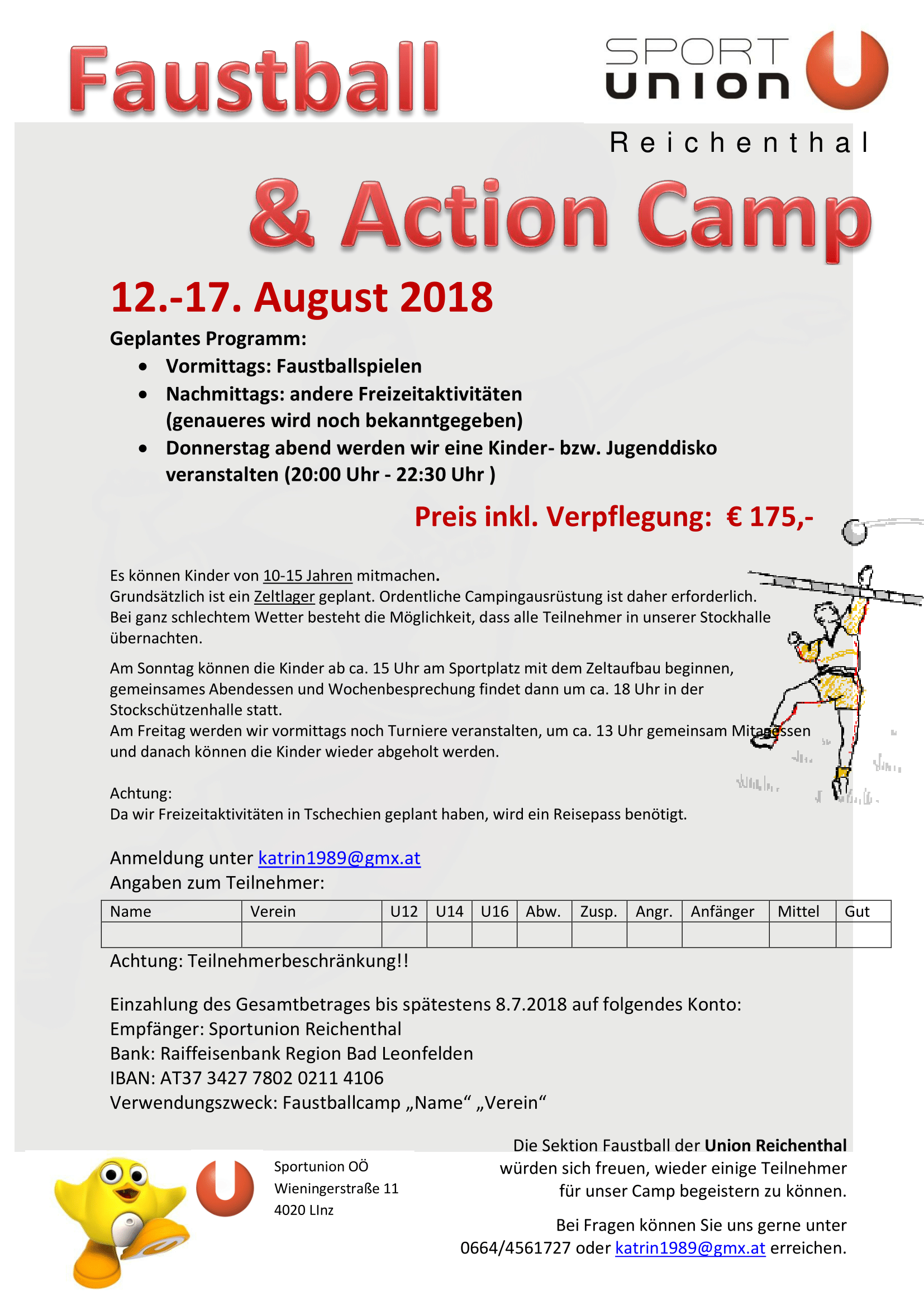 Faustball & Action Camp, Ausschreibung 2018-1